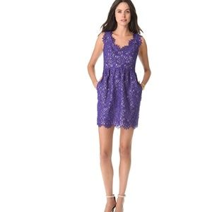Shoshanna Sierra Lace Sheath Dress 2 Purple Lined